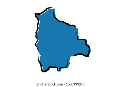Stylized blue sketch map of Bolivia