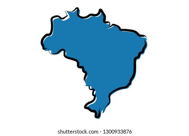 Stylized blue sketch map of Brazil