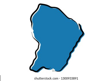 Stylized blue sketch map of French Guiana