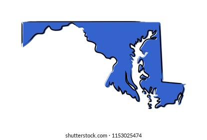 Stylized blue sketch map of Maryland