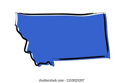 Stylized blue sketch map of Montana