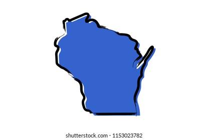 Stylized blue sketch map of Wisconsin
