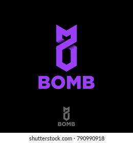 Stylized bomb from the tape. Origami logo. Purple bomb emblem.