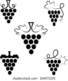 The stylized branch of grapes with leaves