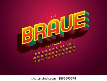 Stylized brave alphabet font vector