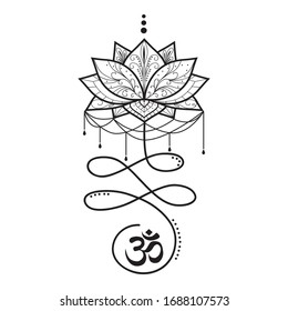 Stylized Buddhist symbol for life path with OM sign and lotus flower, vector