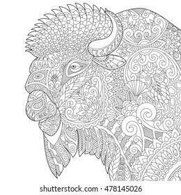 Stylized buffalo (american bison, bull, ox, yak, aurochs), isolated on white background. Freehand sketch for adult anti stress coloring book page with doodle and zentangle elements.