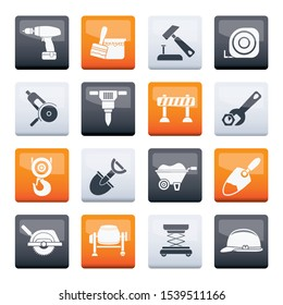 Stylized building and construction icons over color background - vector icon set