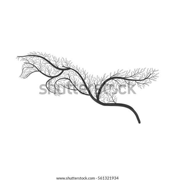 Image Vectorielle De Stock De Renard De Buissons Stylises Les