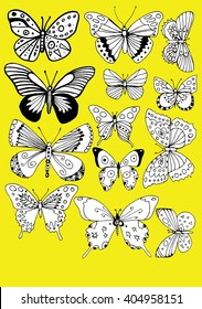 Stylized butterflies. Set butterflies. Decorative insects. Line art. Black and white drawing by hand. Dudling. Zentangl.