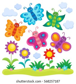 Stylized butterflies theme image 1 - eps10 vector illustration.