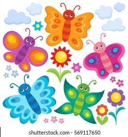 Stylized butterflies theme set 1 - eps10 vector illustration.