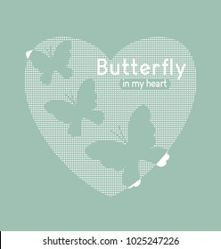 Stylized butterflies and word on a white background. Applique print for textile clothes in fashion luxury design. Slogan graphic for t-shirts in vector.  Can be used to print on the card and poster.