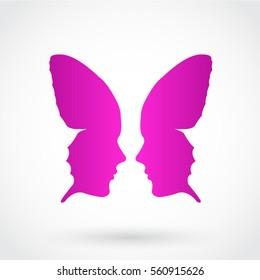 stylized butterfly face pink purple symbol