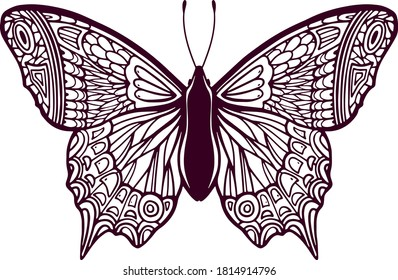 Stylized Butterfly. Hand Drawn for  children or adult coloring pages, illustration isolated on white background. Sketch for tattoo. Insect collection.