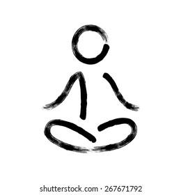 Stylized calligraphy meditation symbol with hand drawn brushstroke feel.