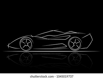 stylized car design , vector illustration black and white a sketch drawing