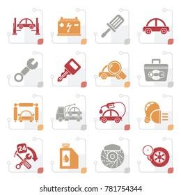 Stylized Car service maintenance icons - vector icon set
