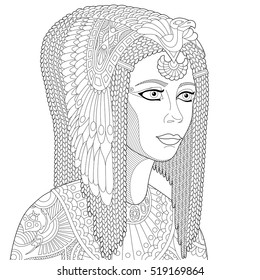 Stylized cartoon ancient egyptian queen Cleopatra (Nefertiti), isolated on white background. Freehand sketch for adult anti stress coloring book page with doodle and zentangle elements.