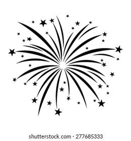 Stylized Cartoon Black Fireworks with Stars Bursting vector icon