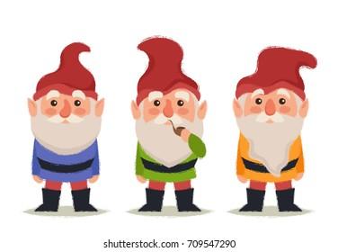 Stylized Cartoon Characters. Three Gnomes. Vector Illustration