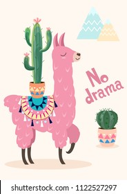 Stylized cartoon lama with ornament design and cactus. Vector card, poster.