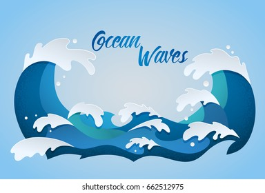 stylized cartoon ocean waves with drops and splashes, isolated vector illustration