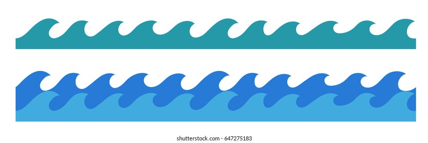 stylized cartoon ocean waves, hand drawn endless border, isolated vector illustration