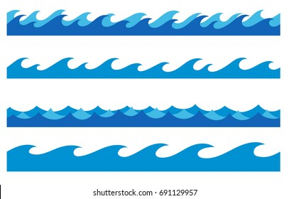 stylized cartoon ocean waves, hand drawn endless borders, isolated vector illustration