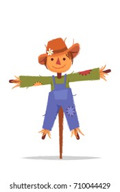 Stylized Cartoon Scarecrow. Vector Illustration