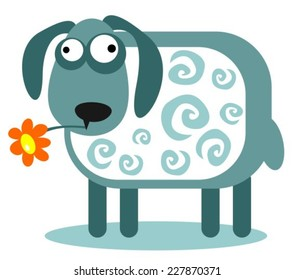 Stylized cartoon sheep and flower on a white background.