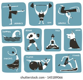 Stylized cartoon sports activities. Vector icon set, 3 colors.