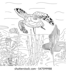 For Coloring Book Stylized Cartoon Underwater Composition Of Turtle Tortoise Freehand Sketch Adult Anti Stress