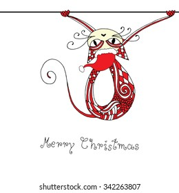 Stylized cat with Christmas hat. Christmas card template