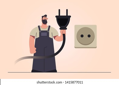 Stylized Character. Electrician Holding Big Plug and Standing Near the Socket. Retro Style. Vector Illustration