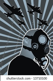 Stylized character wearing a gas mask with bombs falling in the background.