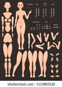 Stylized characters set for animation. Female model