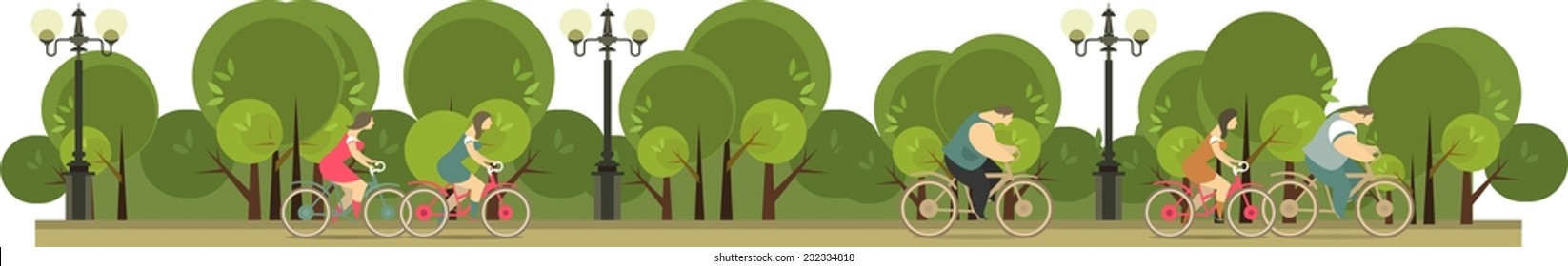 Stylized characters, two beautiful girls are riding a bicycle in the park wide format