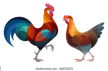 Stylized Chickens - Altsteirer Rooster and Hen