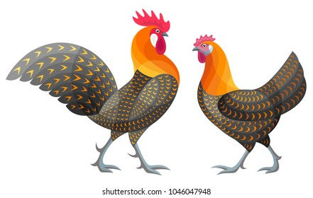 Stylized Chickens - Golden Campine Rooster and Hen