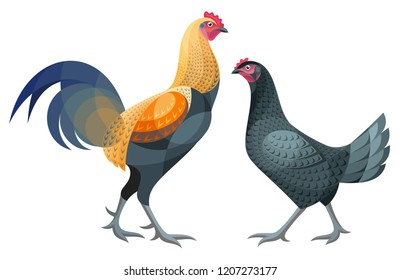 Stylized Chickens - Luikse Vechter Rooster and Hen