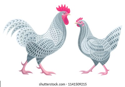 Stylized Chickens - Rooster and Hen