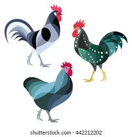 Stylized Chickens - Roosters