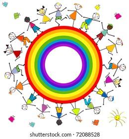 Stylized children around a rainbow