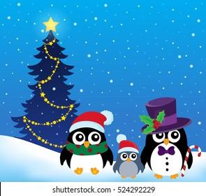 Stylized Christmas penguins theme 2 - eps10 vector illustration.