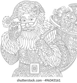 Stylized christmas Santa Claus holding bag full of gift toys. Freehand sketch for adult anti stress coloring book page with doodle and zentangle elements.