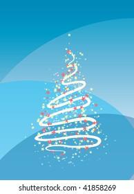 Stylized christmas tree on blue background. Fully editable