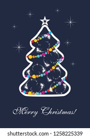 Stylized Christmas tree on a dark blue background. Vector