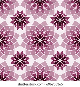 Stylized Chrysanthemum flower pattern in shades of purple. Graphic floral background. Vector seamless repeat.