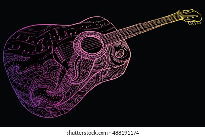 Contour Line Drawing Guitar : Collection stylized guitar set musical instruments stock vector hd